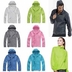 Women Men Lightweight Rain Coat Hooded Jogger Hiking Waterpr