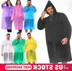 Women/Men Waterproof Jacket Clear PE Raincoat Rain Coat Hood