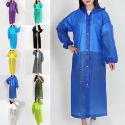 Women Men Waterproof Jacket Clear PVC Raincoat Rain Coat Hoo