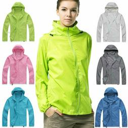 Women Men Waterproof Windproof Rain Coat Hoodie Jogger Hikin