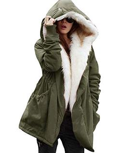 Roiii Women Military Winter Casual Outdoor Coat Hoodie Jacke