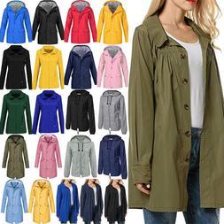 Women Rain Coat Jacket Outdoor Waterproof Hooded Raincoat Wi