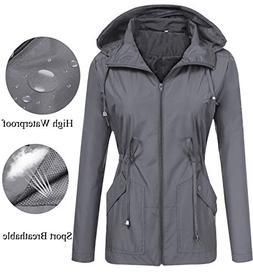 LOMON Women Rain Coat Windbreaker Hooded Travel Hiking Mount