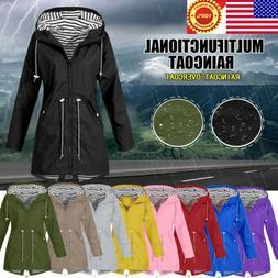 Women Rain Jacket Outdoor Waterproof Hooded Raincoat Windpro