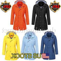 Women Rain Mac Waterproof Festival Jacket Ladies Anorak Hood