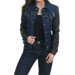 women s faux leather sleeves distressed denim