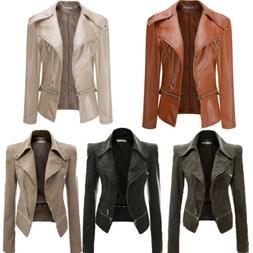 Women's Faux Leather Zip Up Bomber Jackets Biker Coat Motorc