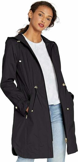 Cole Haan Women's Hooded anorack rain Coat, Black, size M ND