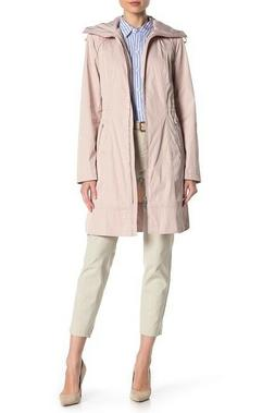 Cole Haan Women's Hooded Longline Rain Coat Canyon Rose Styl