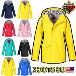Womens Hoodie Hooded Raincoat Windproof Outdoor Sport Coat J