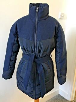 Women's Jacket Light Weight Quilted Wool Rain Coat Parka Nav
