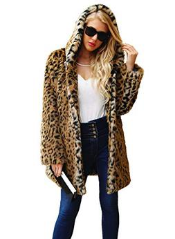 Women's Leopard Faux Fur Coat Vintage Warm Long Sleeve Parka