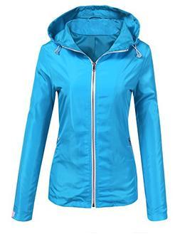 Beyove Women's Lightweight Raincoat Waterproof Hooded Active