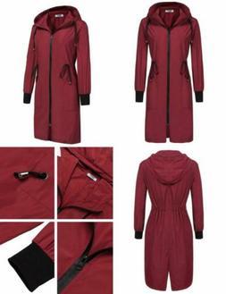 ELESOL Women's Lightweight Waterproof Long Raincoat Hood Out