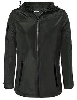 Meaneor Women's Long Sleeve Zip Up Hoodie Waterproof Rain Ja