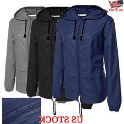Women's Men's Long Sleeve Hooded Windbreaker Jacket Outdoor
