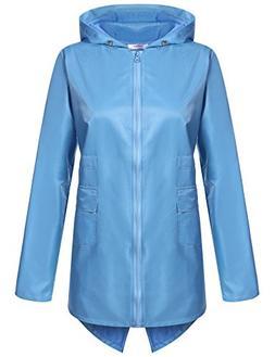 Meaneor Women's Outdoor Waterproof Raincoat Hooded Zipper Ja