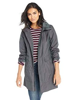Cole Haan Women's Packable rain Jacket, Gunmetal, Medium