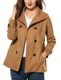 Meaneor Women's Peacoat Double Breasted Overcoat Long Sleeve