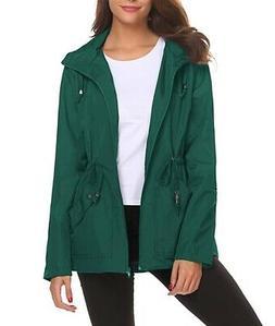 LOMON Women's Rain Coat Hunter Green Size Medium M Hooded Wa
