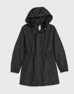 A New Day Women's Rain Coat Jacket Black Lightweight Layerin