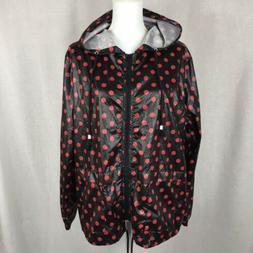 Meaneor Women's Raincoat Size L Hooded Dot Jacket Rain Light