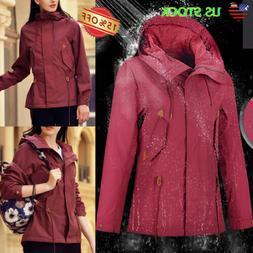 Women's Raincoat Wind Waterproof Jacket Hooded Rain Workwear