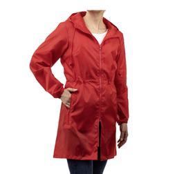 Totes Women's Red Packable Adjustable Waistline  Anorak Rain
