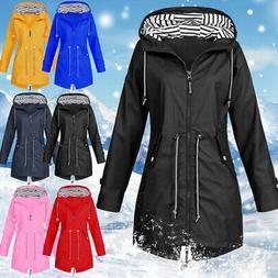 Women's Waterproof Lightweight Hooded Rain Jacket Coat Outdo