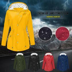 Women's Waterproof Lightweight Rain Jacket Coat Outdoor Hood