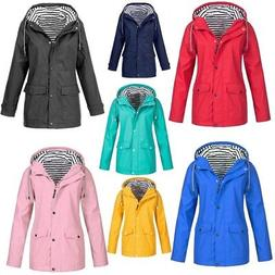 Women's Waterproof Long Sleeve Zip Up Wind Jacket Winter Rai