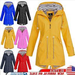Women's Waterproof Rain Coat Striped Outdoor Wind Breaker Fo