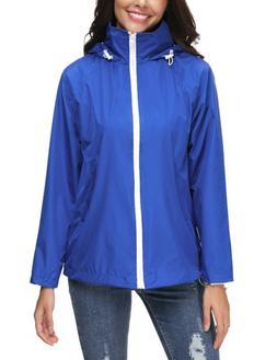 ZHENWEI Women's Waterproof Rain Jacket Hooded Raincoat Strip