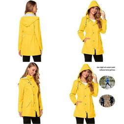 Zhenwei Women'S Waterproof Rain Jacket Hooded Raincoat Strip