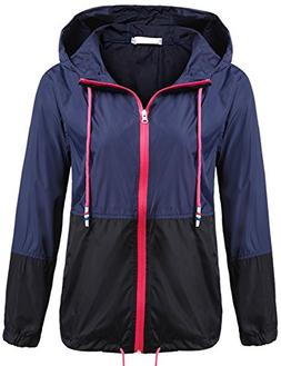 SoTeer Women's Waterproof Raincoat Outdoor Hooded Rain Jacke