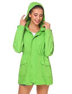 Beyove Women's Waterproof Raincoat Zip Up Hooded Windbreaker