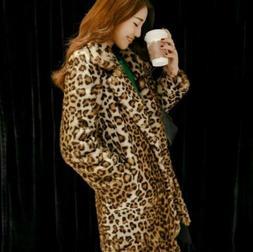 Women Warm Coat Outwear Vintage Animal Leopard Print Faux Fu