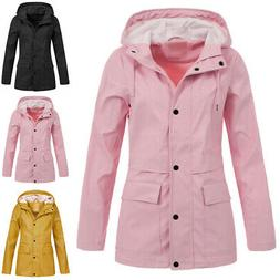 Women Waterproof Hooded Solid Wind Jacket Raincoat Outwear C