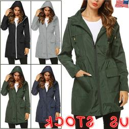 Women Waterproof Wind Jacket Hoodies Outdoor Raincoat Outwea
