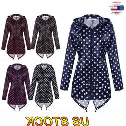 Women Windproof Waterproof Jacket Polka Dot Raincoat Rain Co