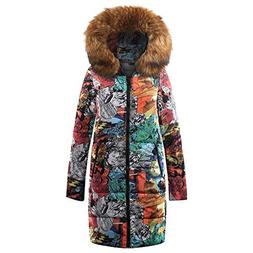 Red Ta Women Winter Long Sleeve Graffiti Print Warm Coat, La