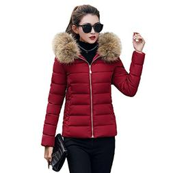 Red Ta Women Winter Long Sleeve Plus Size Slim Top Coat,Ladi