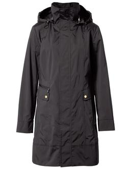 Womens COLE HAAN Back Bow Packable Hooded Raincoat, Black, P