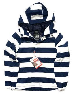 HELLY HANSEN Womens Bray Striped Hooded Rain Jacket Navy Blu