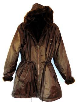 ~WOMEN WITHIN WOMENS COAT REVERSIBLE COAT FAUX FUR PARKA POL