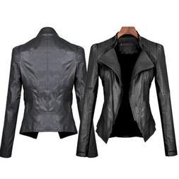 Womens Faux Leather Biker Motorcycle Jacket Slim Punk Casual