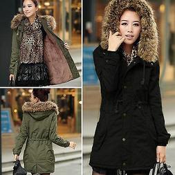Womens Fur Collar Hooded Jacket Winter Warm Outwear Long Sli