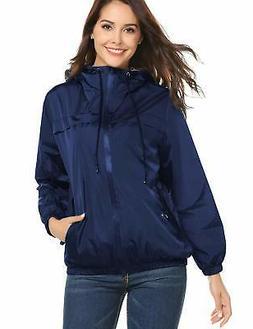 LOMON Womens Hooded Jacket Plus Size, Lightweight Waterproof