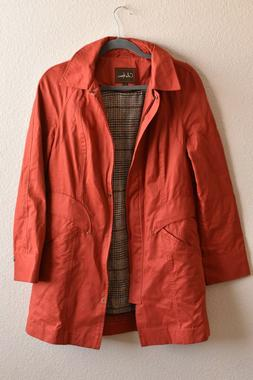 Cole Haan Womens Hooded Rain Jacket Coat Size Small Burnt Re
