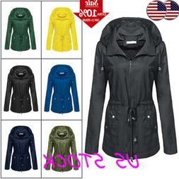 womens hooded zip tie waist waterproof long